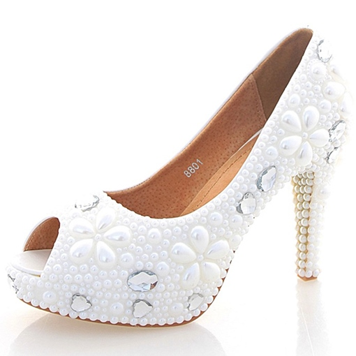 Peep Toe Beads Wedding Shoes Fancy Bridal's Dress Sandals