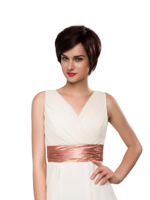 Short Straight 100% Human Hair Capless Wig 10 Inches