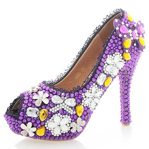 Rhinestone Peep Toe Platform Slip-On Women's Wedding Shoes