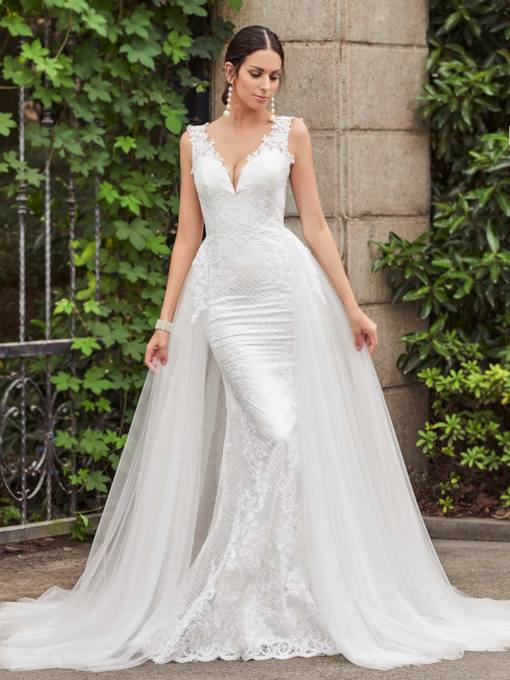 V-Neck Lace Sheath Court Train Wedding Dress