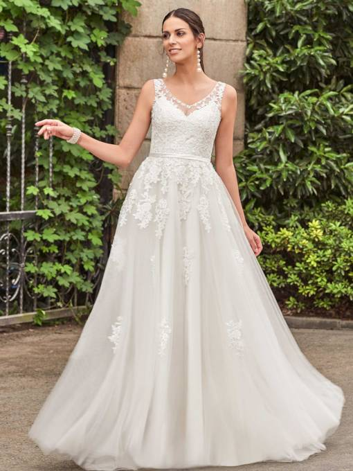 V-Neck Lace Appliques Zipper-Up A-Line Wedding Dress