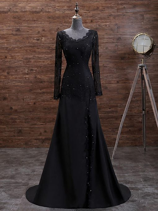 Long Sleeves A-Line V-Neck Beading Button Lace Court Train Evening Dress