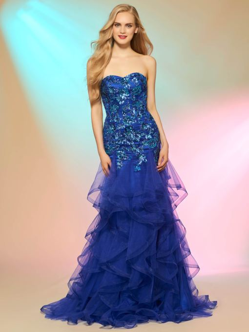 Sweetheart Mermaid Appliques Casading Ruffles Sequins Prom Dress