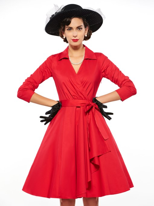 3/4 Length Sleeves Women's Rockabilly Dress