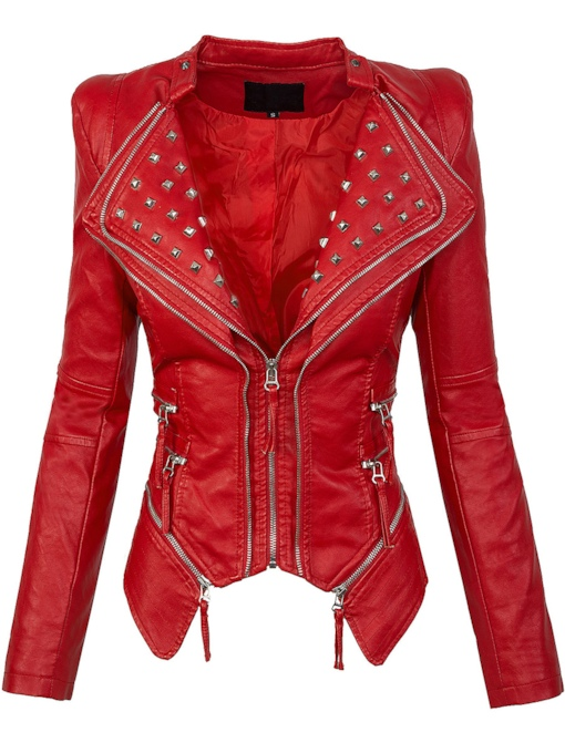 Stand Collar Lapel Rivet With Zipper Decoration Slim Women's Jacket