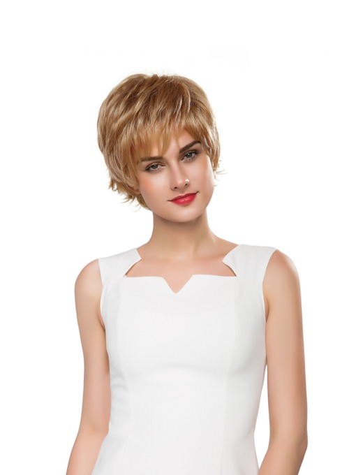 Short Wavy Layered Human Hair Capless Wig 10 Inches