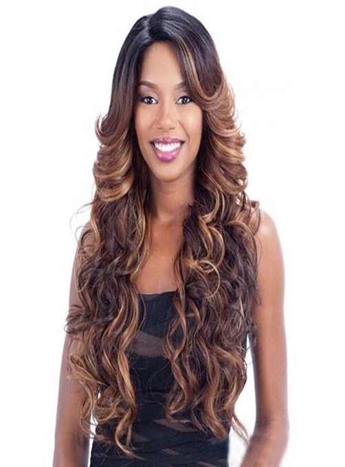 Long Wavy Mixed Color Capless Synthetic Hair Wig 28 Inches