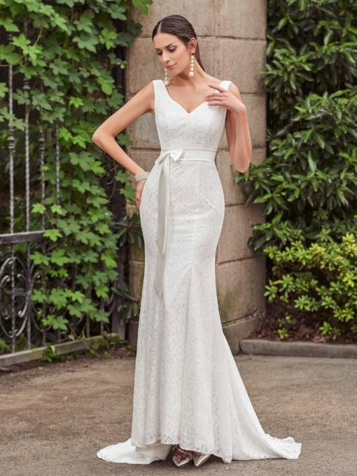 Straps Sashes Mermaid Lace Wedding Dress