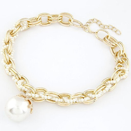 Big Pearl Pendant Multilayer Chain Necklace