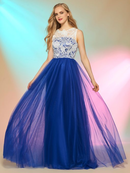 A-Line Lace Bateau Button Prom Dress
