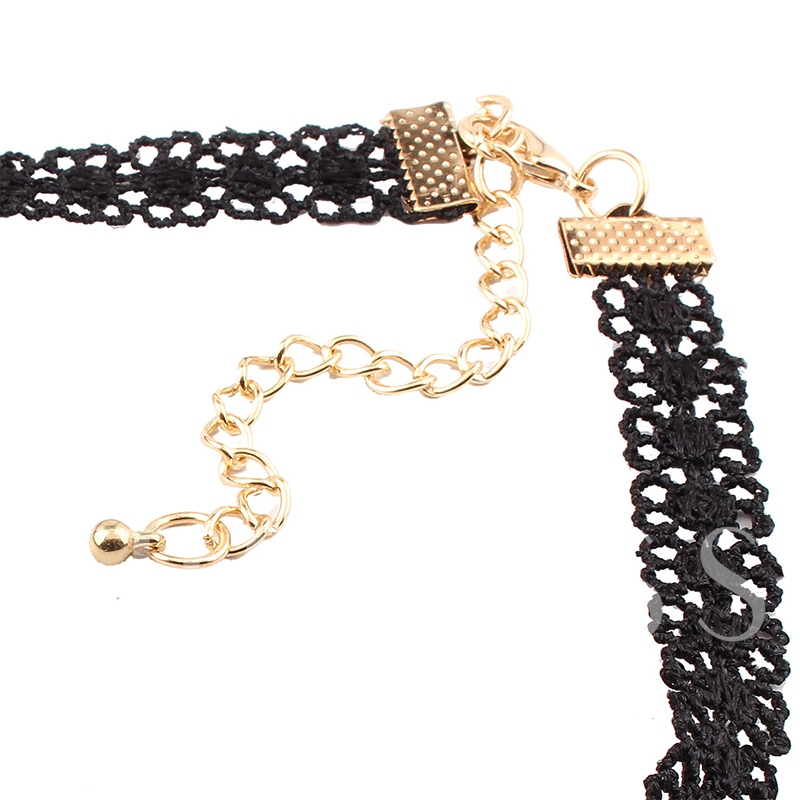 Christmas Lace Black Rope Santa Claus Alloy Hollow Out Torques Choker Necklace