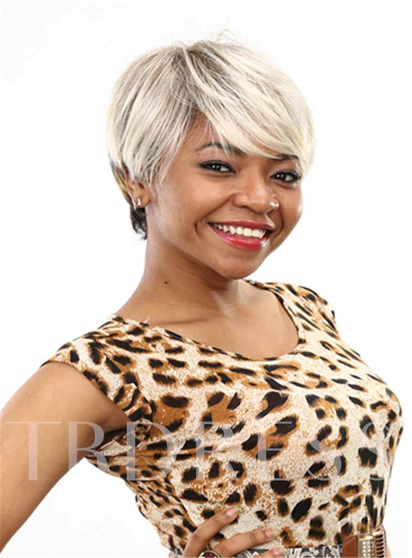 Short Layered Straight Capless Synthetic Hair Wig 6 Inches