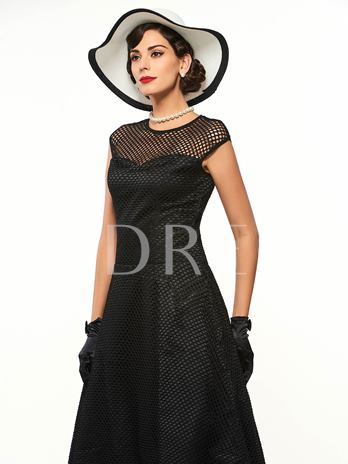 Black Hollow Sleeveless Women's Vintage Dress