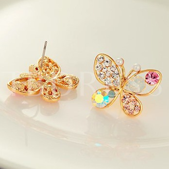 Colorful Rhinestone Butterfly Stud Earrings