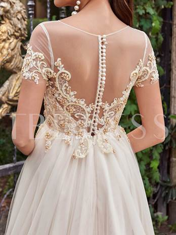Short Sleeves Scoop Neck Beading A-Line Wedding Dress