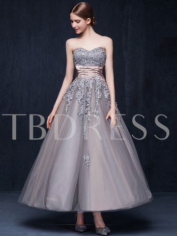 Sweetheart A-Line Appliques Sashes Ankle-Length Evening Dress