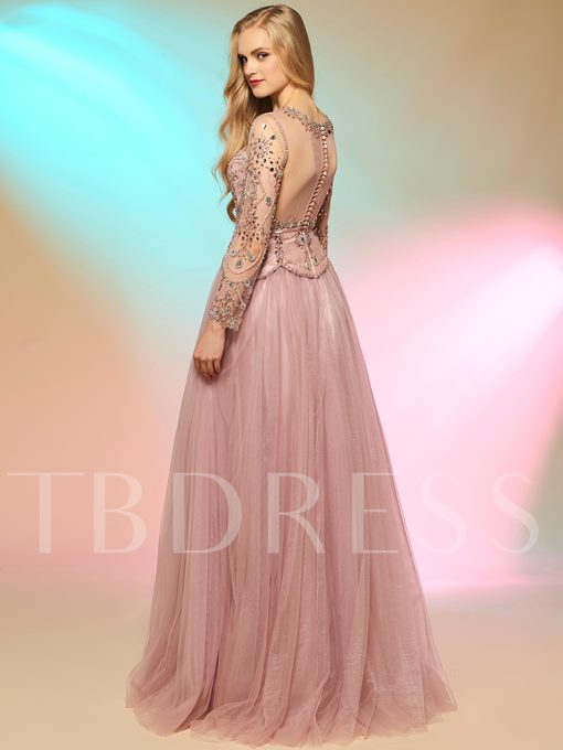 A-Line Scoop Long Sleeves Beading Button Prom Dress