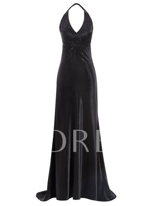 Halter Beading A-Line Sweep Train Evening Dress