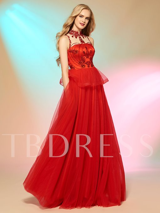 A-Line Jewel Beading Rhinestone Button Prom Dress