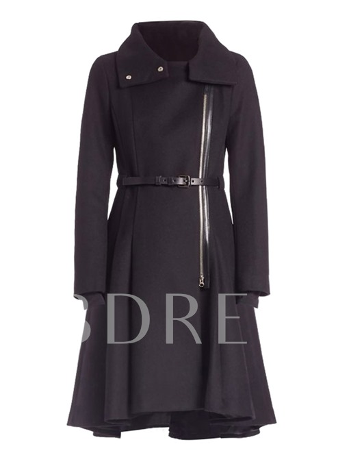 Belt Zipper Lapel Long Sleeve Women's Trench Coat