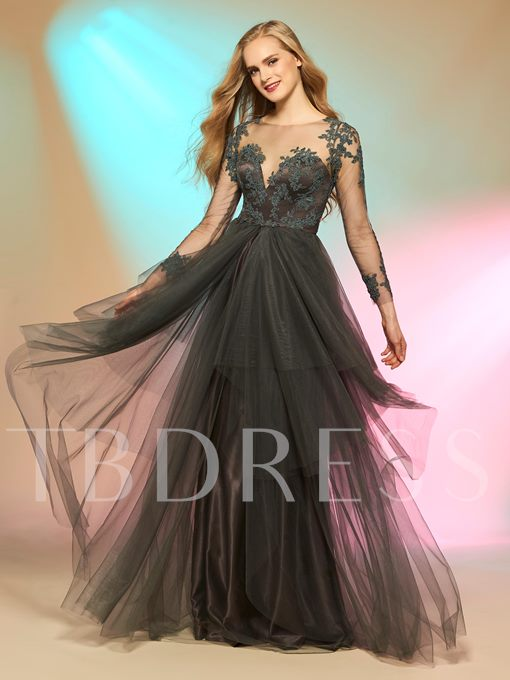 Long Sleeves Scoop A-Line Appliques Button Floor-Length Prom Dress