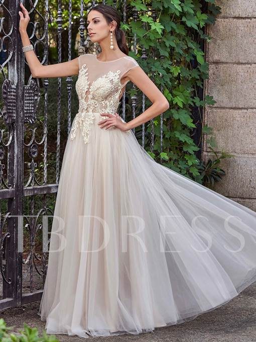 Scoop Neck Cap Sleeves Appliques Backless A-Line Wedding Dress