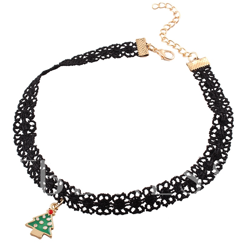 Christmas Trees Hollow Out Rope Alloy Link Chian Torques Choker Necklace