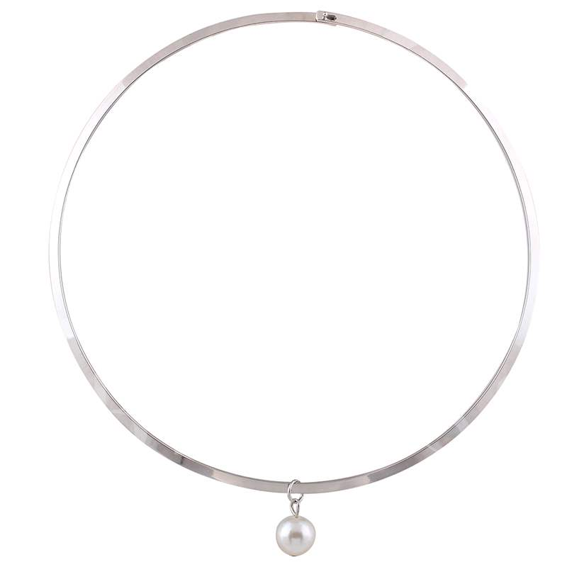 White Pearl Pendant Alloy Collar Necklace