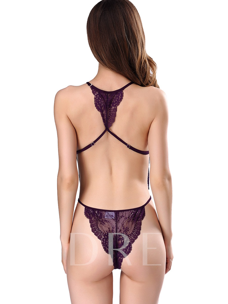 Plain Hollow Backless Lace Teddy