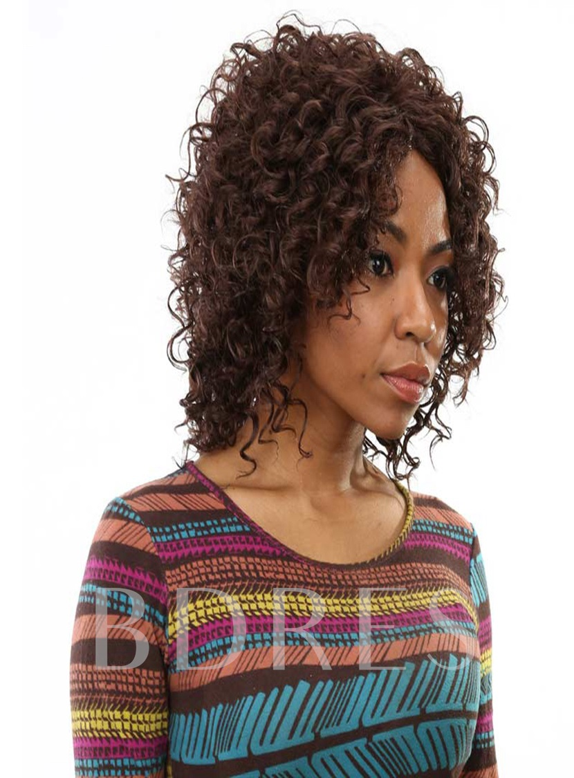 Medium Kinky Curly Capless Synthetic Hair Wig 16 Inches