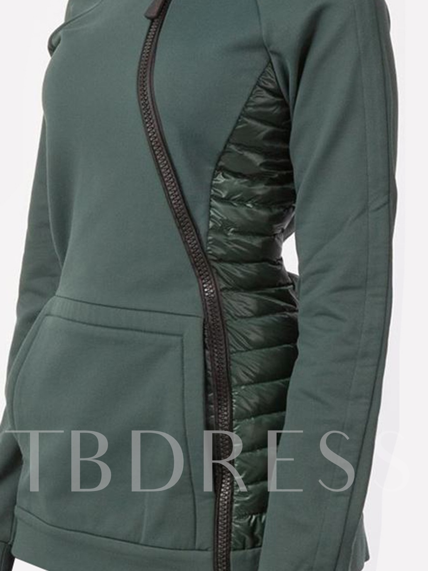Front Pocket Stand Collar Patchwork Women's Hoodie