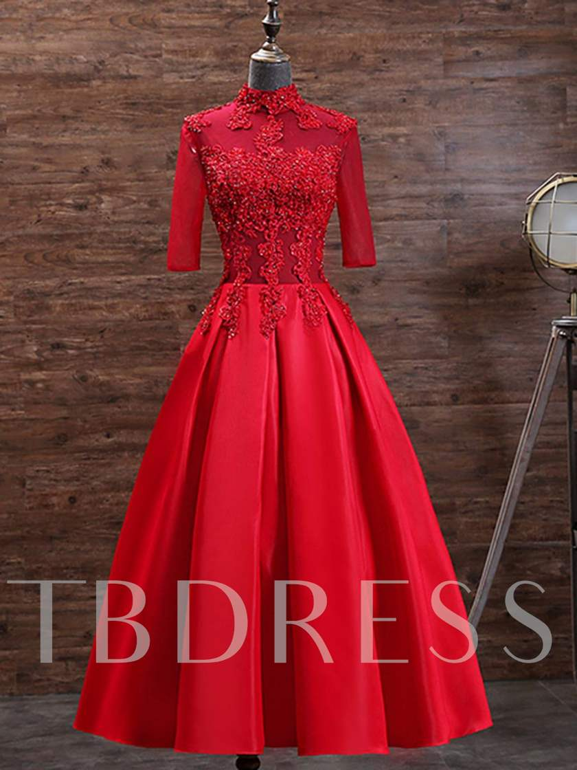 High Neck Appliques Beading Tea-Length Evening Dress