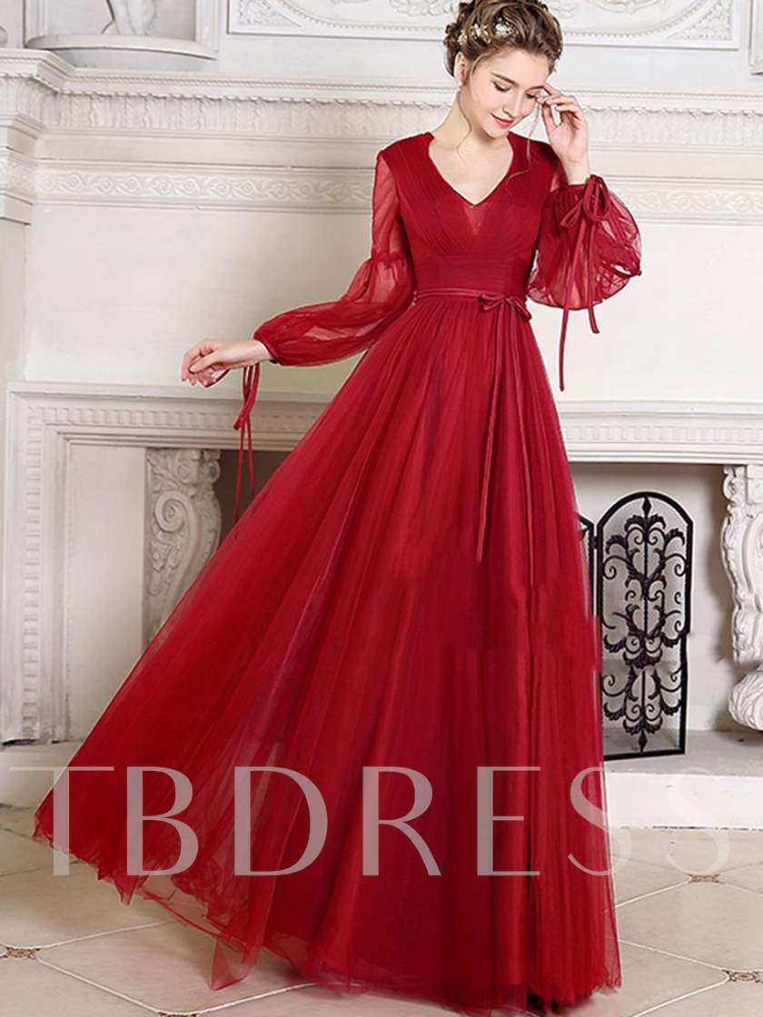 A-Line V-Neck Long Sleeves Pleats Sashes Long Evening Dress