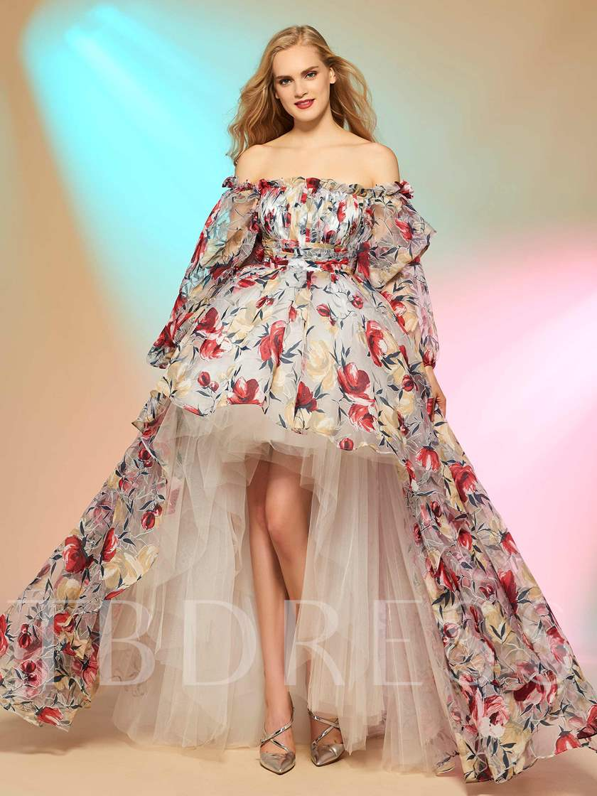 A-Line Off-the-Shoulder Long Sleeves Printed Asymmetry Prom Dress