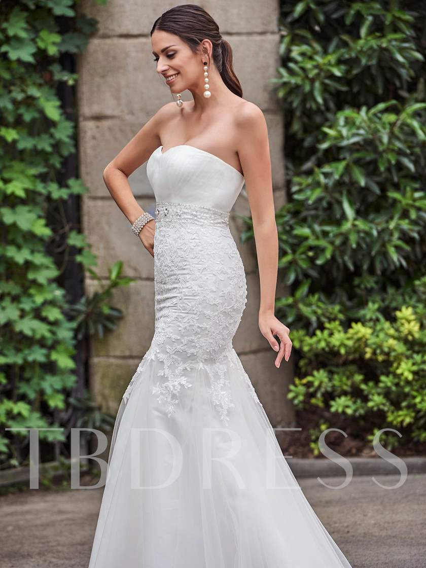 Sweetheart Lace Beading Court Train Mermaid Wedding Dress