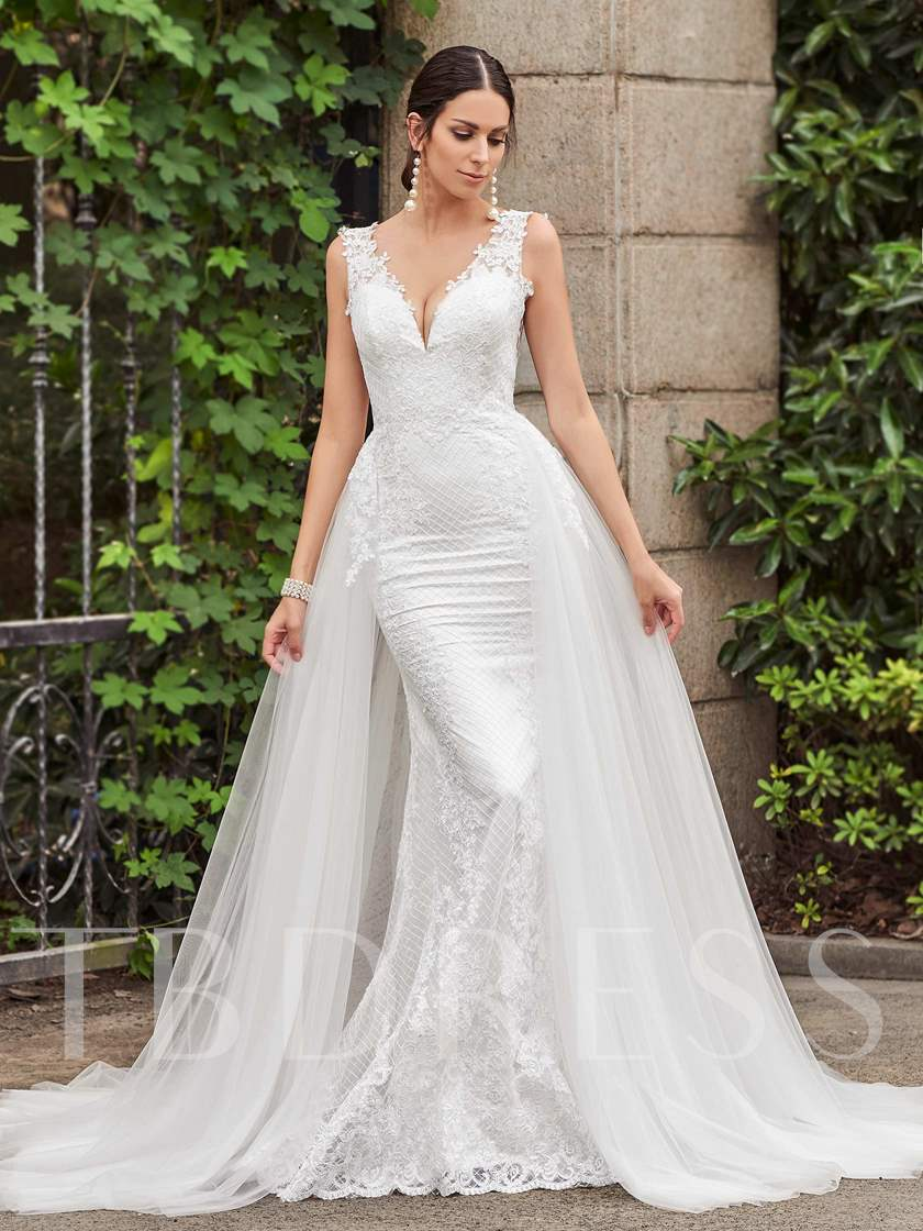 Lace Sheath Wedding Dress with Watteau Train