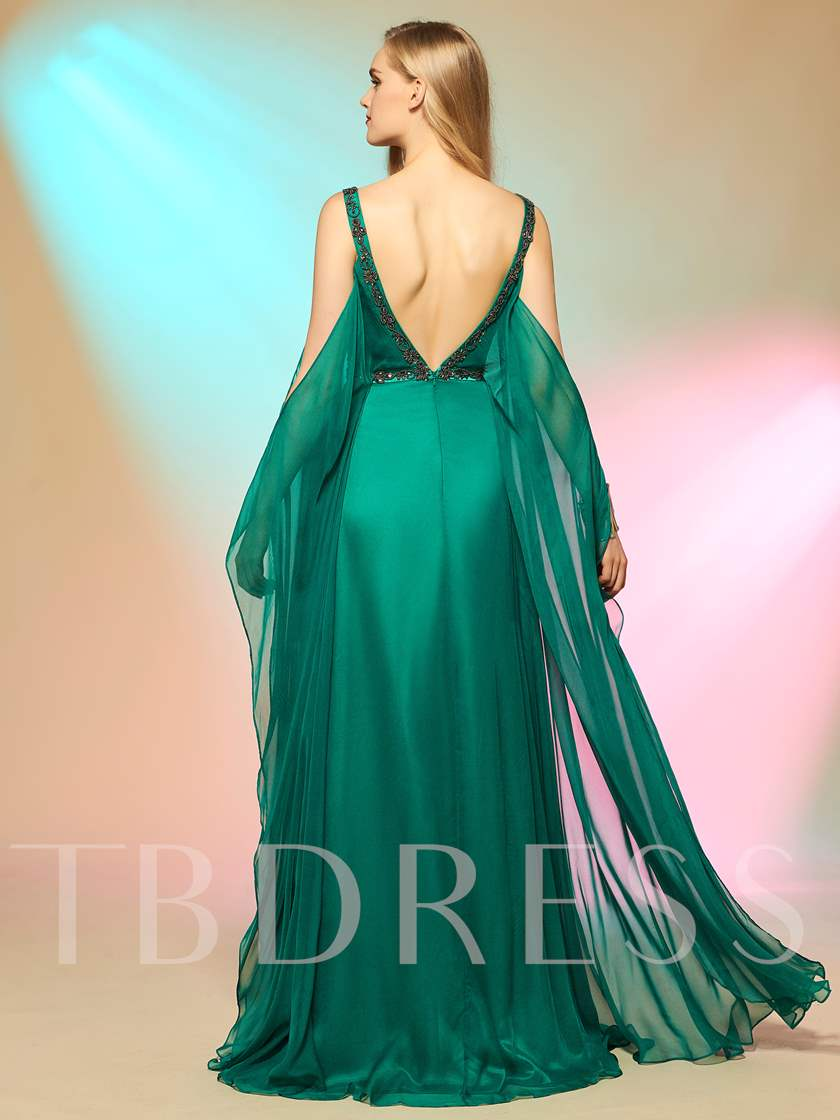 A-Line Sashes V-Neck Beading Sweep Train Prom Dress