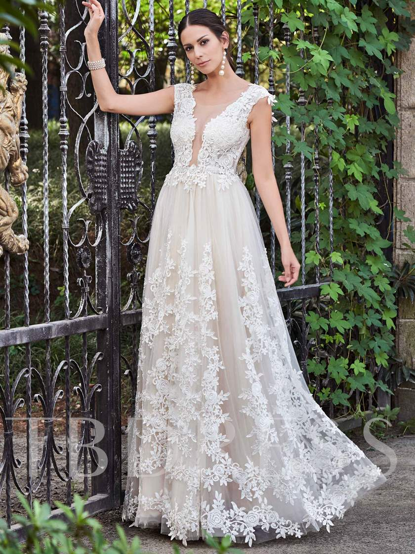Gauze Round Collar Lace Appliques A-Line Wedding Dress - Tbdress.com