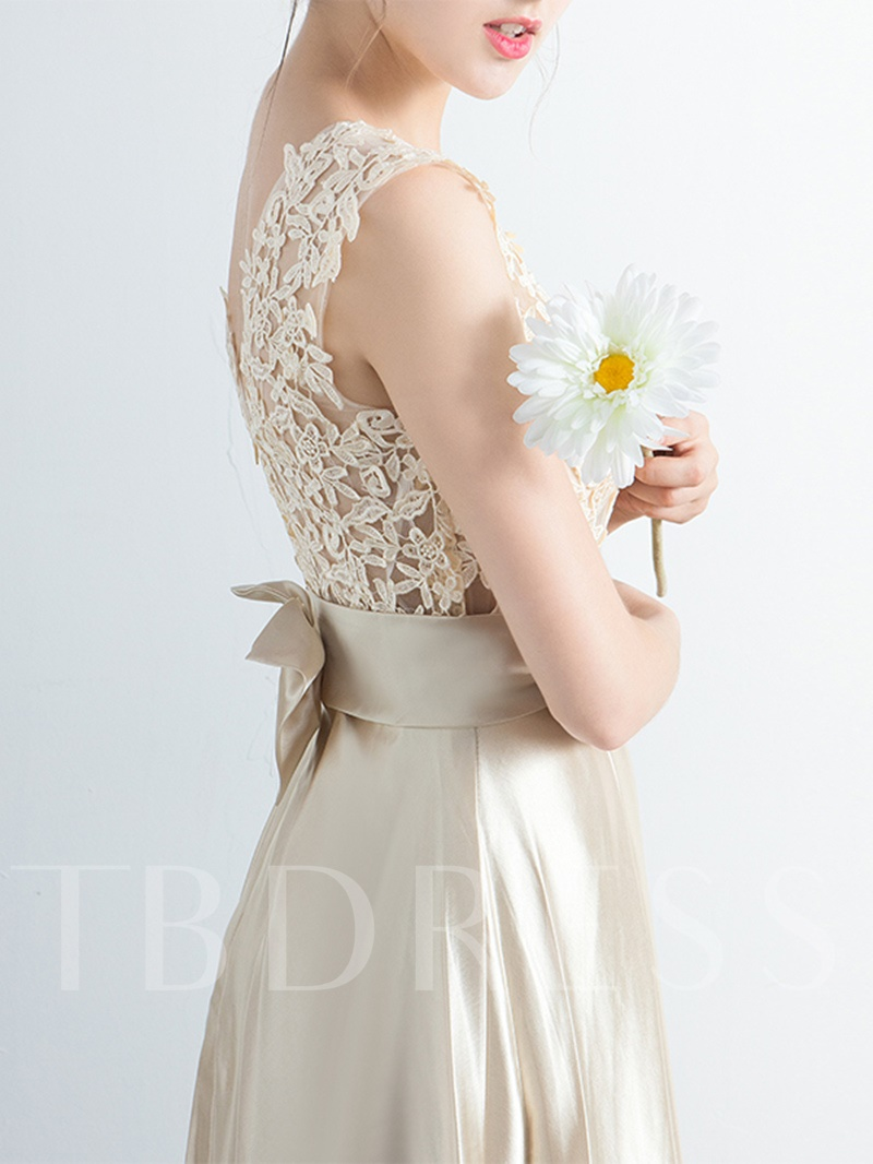 Scoop Appliques Beading Bowknot Prom Dress