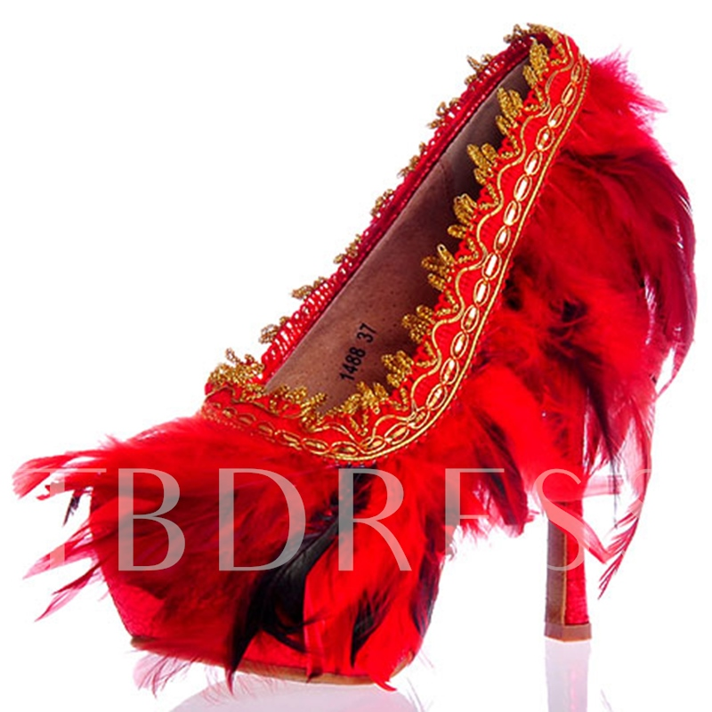 Ultra-High Heel Feather Wedding Shoes