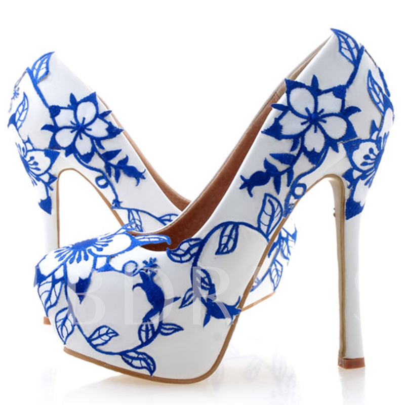 Appliques Ultra-High Heel Platform Floral Women's Wedding Shoes
