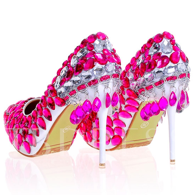 Rhinestone Ultra-High Heel Pointed Toe Women's Wedding Shoes