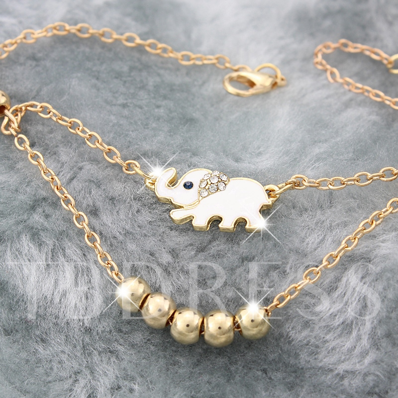 Elephant Design Golden Beaded Anklet