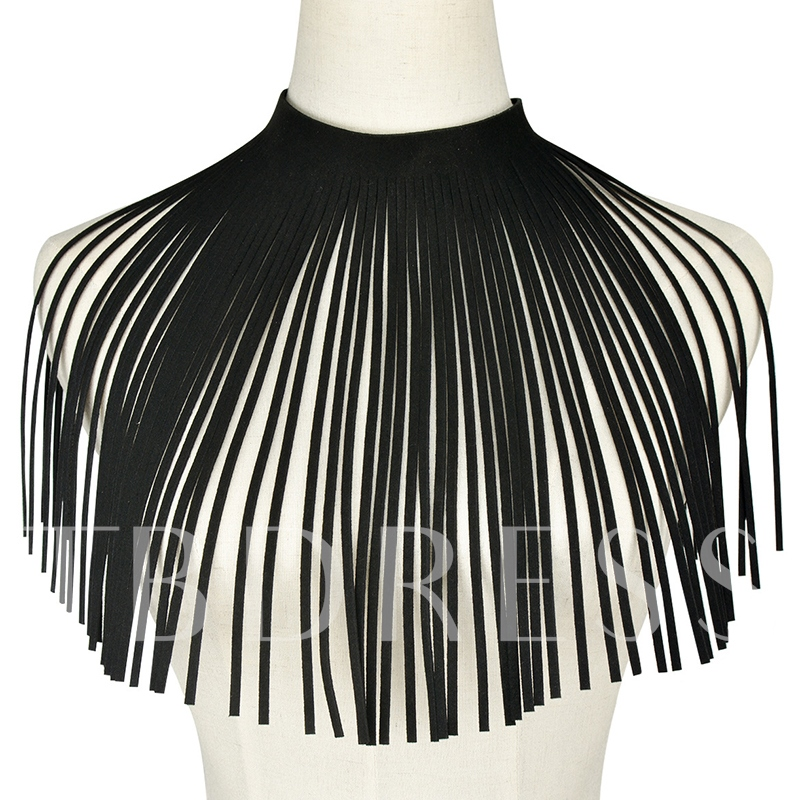 Exaggerated Black Velvet Tassels Choker Necklace
