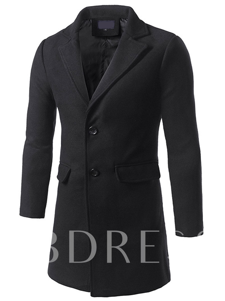 Buy Double-Button Notched Collar Men's Long-Pattern Coat, Fall,Winter, 12691671 for $55.99 in TBDress store