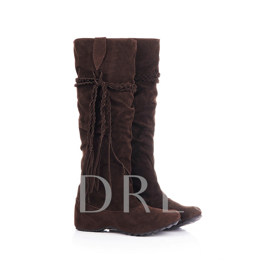 Round Toe Knee-High Slip-On Women's Boots