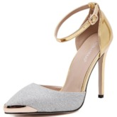 Patchwork Pointed Toe Sequins Women's Pumps Metallic Shoes