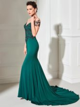Scoop Mermaid Lace Court Train Evening Dress