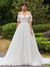 Off-The-Shoulder Wedding Dress Chapel Train Bridal Gown