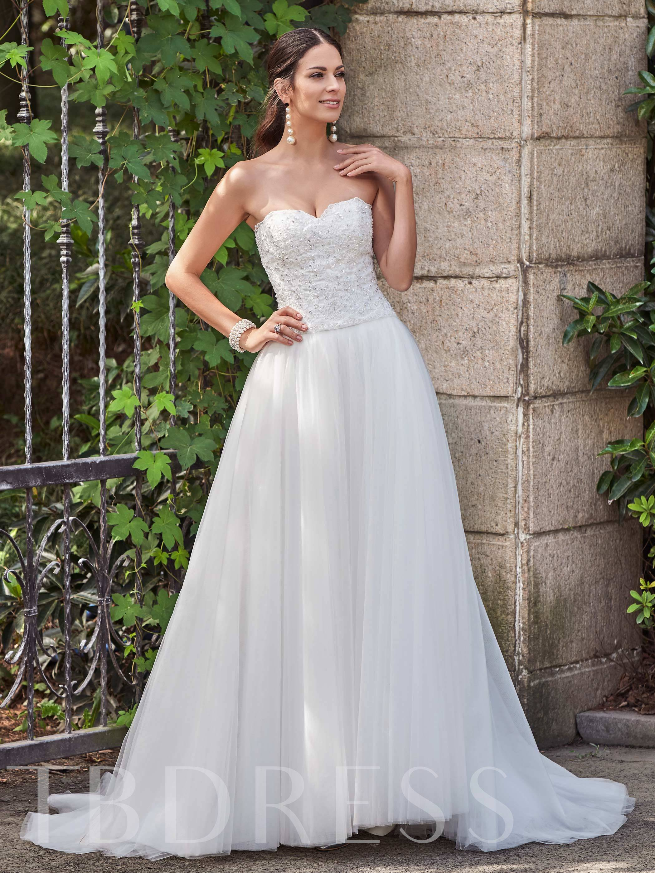 Sweetheart Appliques Beading Court Train Wedding Dress 12693430